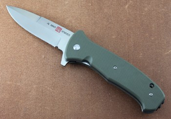 AMK2210 SERE 2020 - Assisted - Flipper - Satin 8Cr13MoV Stainless - Olive Drab FRN Handles