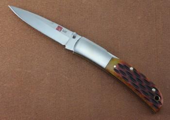 AMK7004 Falcon - Dual Thumbstuds - Lockback - AUS8 Blade Steel - Honey Jig Bone Handles