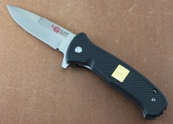 AMK9202 SERE 40th Anniversary - Assisted Opening - Flipper - Satin D2 Steel - Black FRN Handle