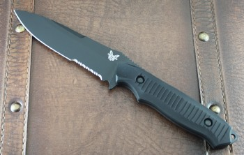Benchmade 140SBM Nimravus - Black Partially Serrated 154CM Drop Point Blade - Black Aluminum Handle - Black Nylon Sheath