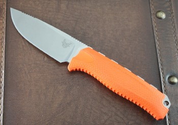 Benchmade 15008ORG Steep Country Hunter - Satin CPM-S30V Plain Edge Blade - Orange Handle - Kydex Sheath