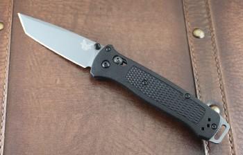 Benchmade 537GY Bailout - CPM 3V Gray Cerakot Tanto Plain Edge - Black Grivory Handles - Axis Lock - 537GY