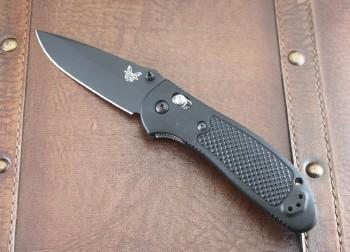 Benchmade 551BK-S30V Griptilian - Black Handles - Black BK Plain Edge S30V Blade - Dual Thumbstuds - Axis Lock - 551BK-S30V