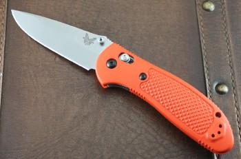 Benchmade 551-ORG-S30V Griptilian - Orange Handle - Satin Plain Edge S30V Blade - Dual Thumbstuds - Axis Lock - 551-ORG-S30V