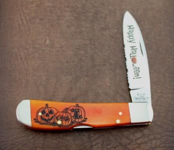 Case XX Tribal Lock Halloween Smooth Persimmon Orange Bone