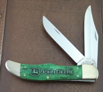 Case XX / John Deere Folding Hunter - Carved Green Bone Handles - Stainless Clip & Skinner Blades - Leather Sheath - 15754