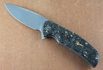 CIVIVI 908DS1 Incite - Flipper - Linerlock - Damascus Blade - Shredded Carbon Fiber and Gold Foil Clear Resin Handle
