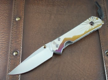 Chris Reeve Large Sebenza 21 Drop Point - Titanium Handles with Morning Sun CGG and Almadine Cabochon Inlay