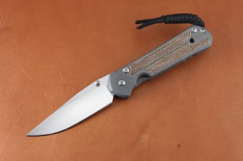 Chris Reeve Small Sebenza 21 Polished Drop Point with Natural Micarta Inlay