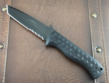 Emerson CQC-7 BTS Fixed Blade - Black Partially Serrated 154CM Stainless Tanto Blade - Black G-10 Handle Scales