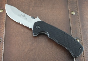 Emerson Rendezvous SFS- Stonewashed 154CM Partially Serrated Skinner Blade - Black G-10 Handle Scales - Titanium Linerlock