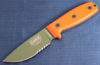 ESEE 3SM-OD Fixed Blade - Olive Drab 1095 High Carbon Partially Serrated Drop Point Blade - Orange G-10 Handle Scales - Black Sheath