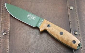 ESEE 4POD-011 - Olive Drab Blade - 3D Natural Micarta Handle