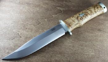Fallkniven SK6 Krut - Laminated 3G Cobalt Steel - Curly Birch Handle - Black Leather Belt Sheath