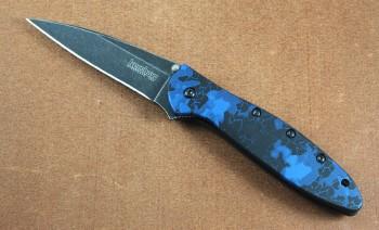 Kershaw 1660DBLU Leek - Blue Digital Camo Handle - Blackwashed Blade - Assisted Opening