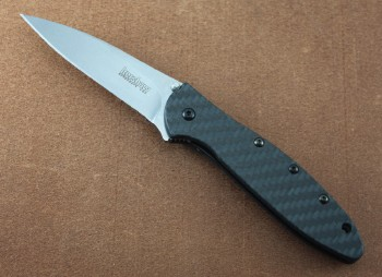 Leek Glow in the Dark Carbon Fiber Handles - Stonewashed CPM154 Plain Edge Blade - Speed-Safe Assisted Opening 1660GLCF