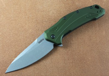 Kershaw Link - OD Green Anodized Handle - CPM 20CV Plain Edge Blade - Assisted Opening - 1776OLSW