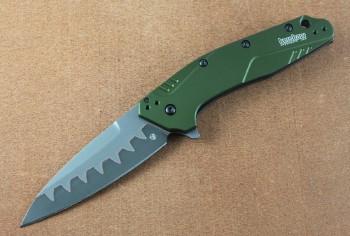 Kershaw 1812OLCB Dividen - OD Green Handle - Bohler N690 over CPM-D2 Composite Blade - Assisted Flipper