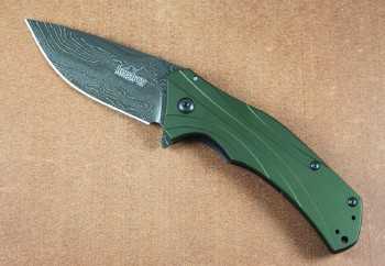 Kershaw Knockout 1870OLDAM - Olive Drab Handles - Damscus Steel Blade - Assisted Opening