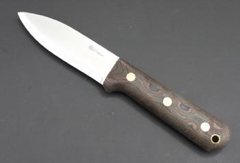 LT Wright Genesis - A2 Steel - Scandi Grind - Python Micarta Handles - Leather Sheath