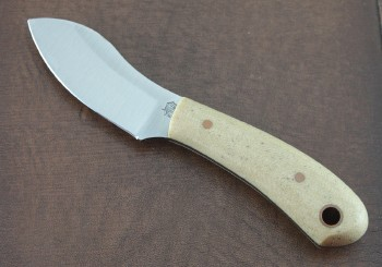 LT Wright Lil MUK - Saber Ground O1 Tool Steel Blade - Snakeskin Micarta Handle Scales - Leather Sheath