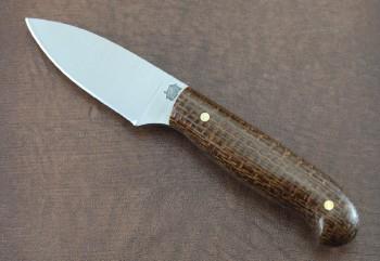 LT Wright Patriot - Flat Ground O1 Steel - Polished Burlap Micarta Scales - Leather Sheath