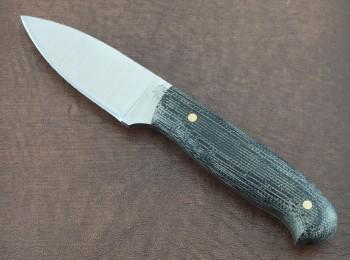LT Wright Patriot - Flat Grind CPM-3V Blade - Matte Black Micarta Scales - Leather Sheath