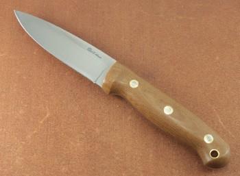 LT Wright GNS - Saber Ground 01 Blade Steel - Polished Natural Micarta Handles -  Leather Sheath