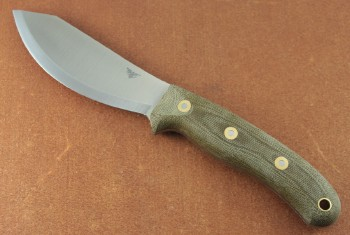 LT Wright JX2 Jessmuk - Scand Ground 01 Tool Steel Blade - Matte Green Micarta Handles - Leather Sheath