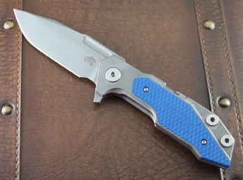 Hinderer Full Track Folder - Working Finish - Titanium Framelock - Flipper - S35VN Spanto Blade - Blue G-10 Scales