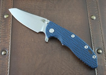 Hinderer XM-18 3.5 Skinny Sheepsfoot Tri-Way Pivot System with Blue/Black G-10