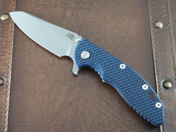 XM-18 3.5 Skinny Sheepsfoor with Working Finish 20CV Blade and Blue/Blade G10 Scale