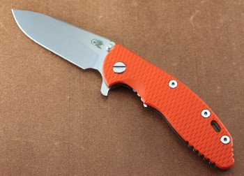 Hinderer Knives XM-18 3.5 Gen 6 Slicer Grind - Orange G10 Scale - Stonewashed Finish