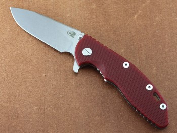 Hinderer Knives XM-18 3.5 Gen 6 Slicer Grind - Red G10 - Stonewashed finish