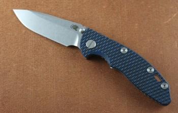 Hinderer XM-18 3.0 Non-Flipper - Stonewashed - CPM 20CV Spearpoint - Black/Blue G-10
