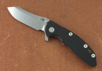 Hinderer XM-18 3.0 Flipper - Stonewash Plain Edge CPM-20CV Skinner Blade - Black Scale