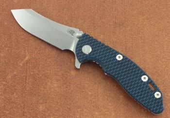 Hinderer XM-18 3.0 Flipper - Stonewash CPM-20CV Plain Edge Skinner Blade - Blue/Black G-10 Scale