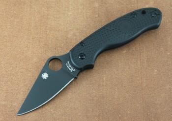 Spyderco C223PBBK Para 3 - Matte Black DLC CTS-BD1N Plain Edge - Black FRN Handles - Compression Lock