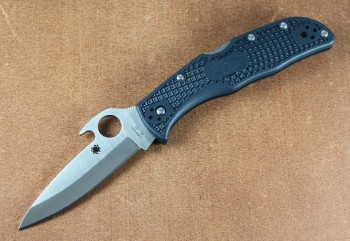 Spyderco C243PGYW Endela - VG-10 Plain Edge Spear Point Blade with WAVE Feature - Gray FRN Handles