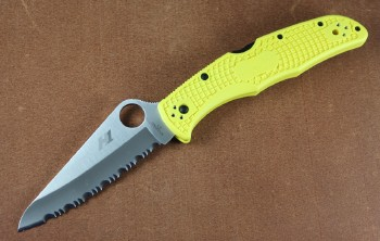 Spyderco C91SYL2 - Pacific Salt 2 - Full Serrated H1 Stainless Blade - Yellow FRN Handles