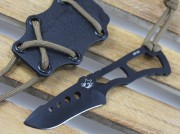 Southern Grind Rat Drop Point Fixed Blade - PVD Gunmetal Coated Blade - Skeletonized Handle - Black Kydex Neck Sheath - SGTRATDPBLKYBLK