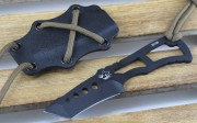 Southern Grind Rat Tanto Fixed Blade - PVD Gunmetal Finished Tanto Blade - Skeletonzied Handle - Black Kydex Neck Sheath - SGTRATTBLKYBLK