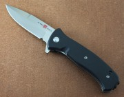 AMK2200 Mini SERE 2020 - Assisted Opening - Flipper - Satin D2 Steel - Black G-10 Handle