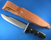 Blackjack Classic Blades 12BM Model 12 HALO Attack Knife with Black Canvas Micarta Finger Grooved Handles and A2 Tool Steel Convex Grind Blade
