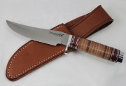 Blackjack Classic Blades 127L Model 127 with Stacked  Leather Handle and A2 Tool Steel Convex Grind Blade
