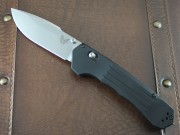 Benchmade 407 Vallation Assisted Opener - Satin S30V Plain Edge Blade - 6061-T6 Aluminum Handle - Axis Lock