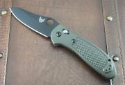 Benchmade 550SBKOD-S30V Griptilian - OD Green Handles - Black BK S30V Plain Edge Blade - Hole Opener - Axis Lock