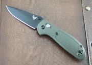 Benchmade 556BKOD-S30V Mini Griptilian - Olive Drab Handles - Black Plain Edge S30V Blade - Dual Thumbstuds - Axis Lock - 556BKOD-S30V