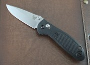 Benchmade 556-S30V Mini Griptilian - Black Handle - Satin Plain Edge S30V Blade - Dual Thumbstuds - Axis Lock - 556-S30V