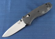 Benchmade 585 Mini Barrage - Satin Plain Edge 154CM Blade - Assisted Opening - Axis Lock - Black Valox Handle